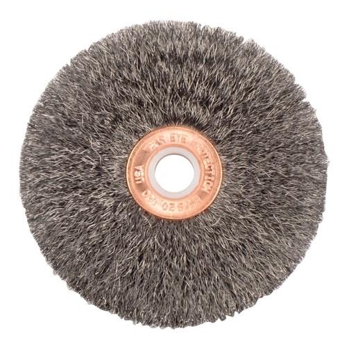 2 Diameter Weiler Copper Center Wire Wheel Brush Steel 1//2-3//8 Arbor 20000 RPM Round Hole 0.014 Wire Diameter Crimped Wire 3//8 Brush Face Width 1//2 Bristle Length