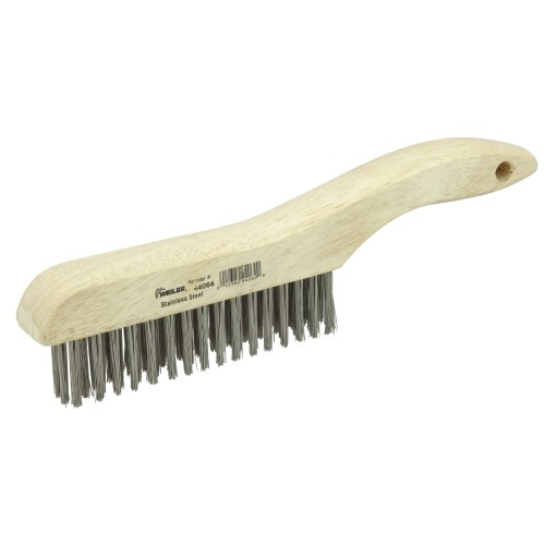 Wire Scratch Brush with Wood Shoe Handle Stainless Steel
